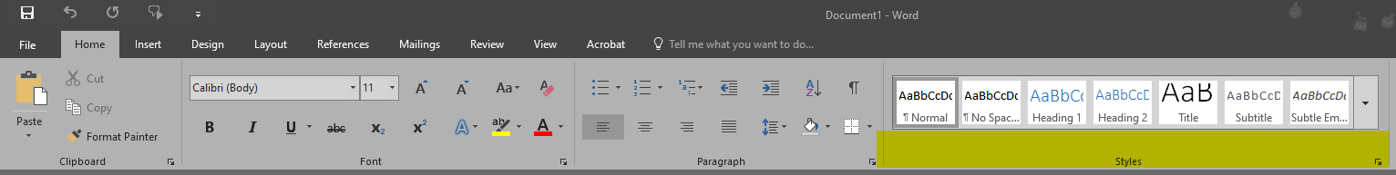 The Styles bar is located under the Home tab in Microsoft Word