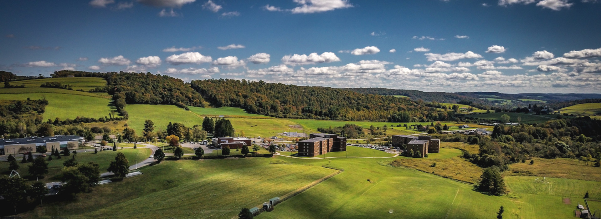 drone photo of campus
