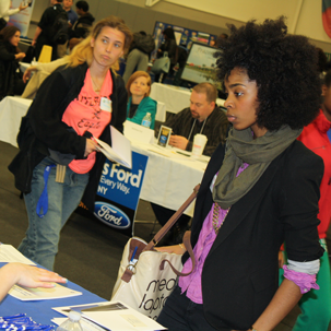 Students and employers attend a previous job and internship fair.