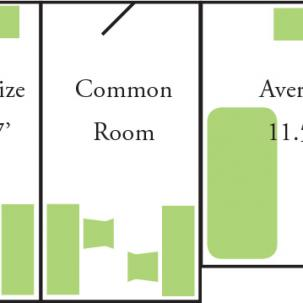 Rooms in East Hall are comprised of one 11.5-foot by 10-foot single room and one 13.5-foot by 7-foot single room that share a single common room that connects to the corridor